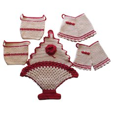 Lot Red White Crocheted Potholders