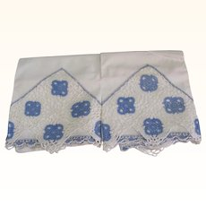 Pair Pillowcases White Blue Embroidered edges