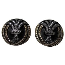 Pair Antique Black Glass Buttons Silver Marcasites Gold Trim
