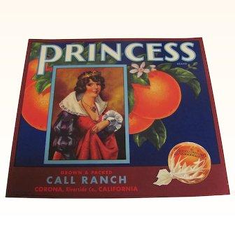 Orange Crate Label Princess Riverside Co Calif