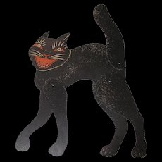 Halloween Large Jointed Black Cat Red Eyes Mouth USA