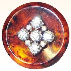 Large Simulated Tortoise Shell & Rhinestones Button