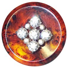 Large Simulated Tortoise Shell & Rhinestones Button