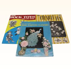 Three Craft Books Sock Toys Chenille Fun Egg Carton Flowers