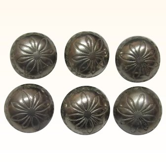 Set 6 Indian Silver Convex Buttons Punched Design
