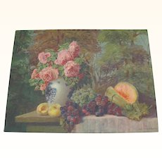 Pink Roses With Fruit On Table Print Max Streckenbach