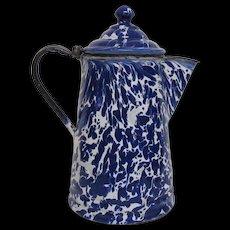 Cobalt Blue Swirl Graniteware Teapot