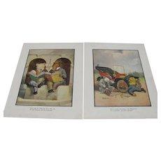 Pair 1906 Roosevelt Bears Book Prints