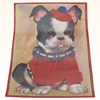 Vintage Boston Terrier Dog Print