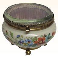 Glass Lidded Porcelain Vanity Jar Hand Painted Flowers