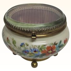 Glass Lidded Porcelain Vanity Jar Hand Painted Flowers
