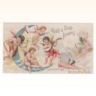 Vose & Sons Pianos Trade Card Cupids