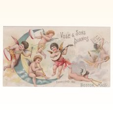 Vose & Sons Pianos Trade Card Cupids
