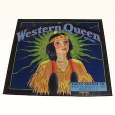 Crate Label Western Queen Oranges