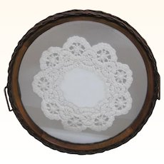 Round Wicker Mirrored Dresser Tray