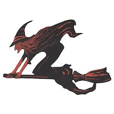 Halloween Broomed Witch Flat Surface Die Cut