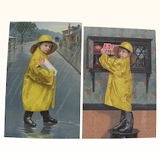 Pair 1901 Yellow Slicker Boys National Biscuit Co. Ads