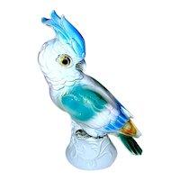 Beautiful German Figural Cockatoo Bird Perfume Lamp / Night Light - WORKS