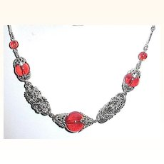 Stunning German 30's Machine Age Red Glass Chrome Knot Link Necklace