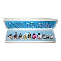 "Rare First Set of 10 French Mini Perfumes Presented as ""Les Parfums de Paris"" - EXCELLENT"