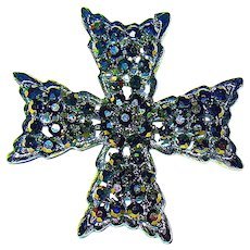 Iridescent Black Bejeweled Weiss Maltese Cross Brooch - Perfect