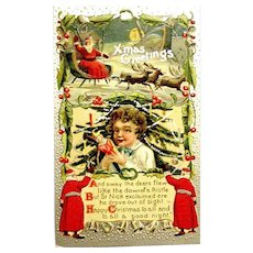 "1910 Christmas Postcard ~ ""The Night Before Christmas"" ~ Santas, Sleigh, Poem ~ Scarce"