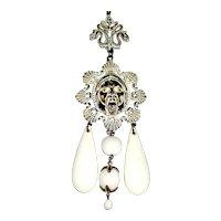 Crown Trifari Asian Inspired Figural Pendant Necklace - Unworn - Perfect