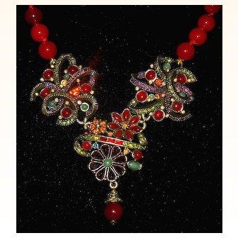 Stunning Heidi Daus Carnelian Bead Necklace w Large Drop of Swarovski Crystals