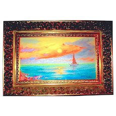 Beautiful Oil Painting of Lakeside Sunset by Hungarian Listed Artist - MOVING SALE PRICE  (1 of 2)