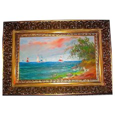 Beautiful Oil Painting of Lakeside Sunset by Hungarian Listed Artist - MOVING SALE PRICE  (2 of 2)