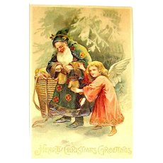 Antique Santa Claus Christmas Postcard ~ Green Slavic Robe, Without Mustache, Angel Helper