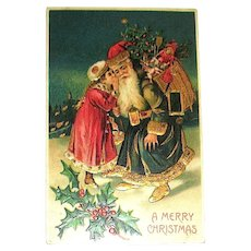 Unused German B.W. Christmas Postcard ~ Santa Claus, Victorian Girl, Heavy Gold