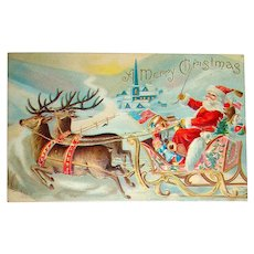 Classic Santa Claus in Sleigh Pulled by Reindeer Christmas Postcard