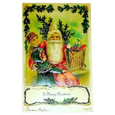 Early UDB Elf-Like Santa Claus  - Children, Toys, Christmas Tree, Factory Glitter Details
