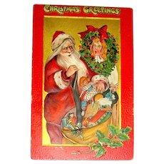 Tuck's Crimson & Gold 501 Series Christmas Postcard ~ Santa Claus, Girl in a Wreath
