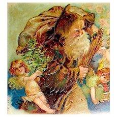Exceedingly Rare Postcard ~ Weihnachtsmann/ Santa Claus w Flock of Angels, Gold Decor