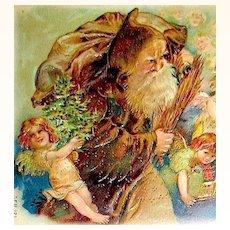 Exceedingly Rare Postcard ~ Weihnachtsmann (Santa), Flock of Angels, Gilt