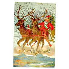 Santa Claus & Pair of Reindeer Christmas Postcard