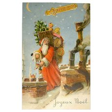 French c. 1950 Exceptional Santa Claus, Cats on Paris Rooftops ~ Christmas Postcard