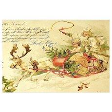 UDB Santa Claus Postcard ~ Great Attire, Angel, Sleigh, White Reindeer