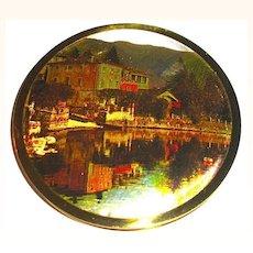 Stunning Unused Melissa Compact ~ Foil Scenic Lid ~ Lake & Mountains