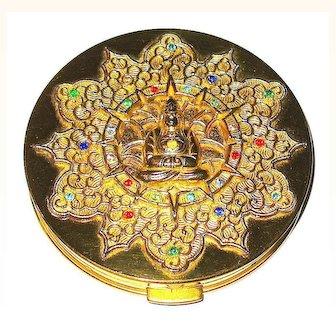 HTF 50'S Figural BUDDHA Gold Plated Filigree Bejeweled Compact