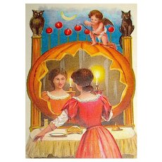 Scarce Halloween Postcard ~ Girl Plays Original Mirror Game, Cherub, Apple