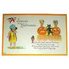 Unused Bergman Halloween Postcard ~ Dancing Black Cat, Gold JOL's, Brooms, Young Girl