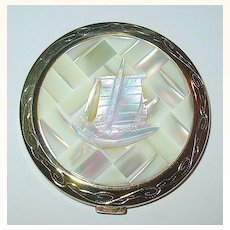Beautiful Carved Mother-of-Pearl Compact ~ Oriental Sampan