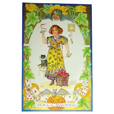 Halloween Postcard  ~ Young Lady Plays Marriage Game with Apple Peels