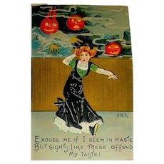 H. B. Griggs Artist Halloween Postcard ~ Lady Chased by Scary Goblins