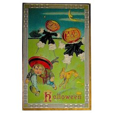Halloween Postcard by Sampson Brothers ~ Frightened Boy & Dog Chased by JOL Scarecrows