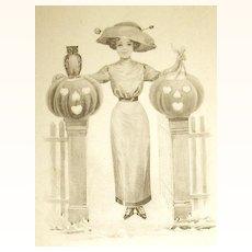 Unused Rare Sepia Colored German Halloween Postcard ~ Victorian Lady w JOL's, Owl