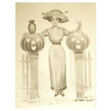 Unused Rare Sepia Colored German Halloween Postcard ~ Victorian Lady w JOL's, Owl